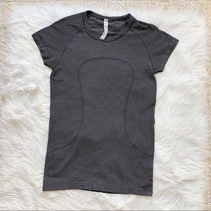 Lululemon Black & White Striped Swiftly Top